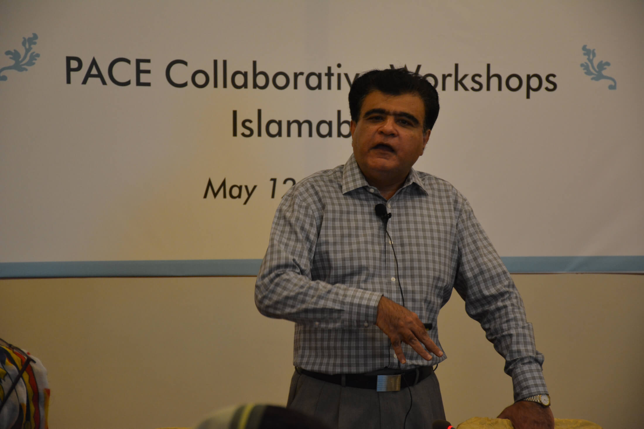 "Dr. Niaz Murtaza delivering a lecture on ""Governance and democracy"" at CRSS PACE workshop on May 12, 2016"