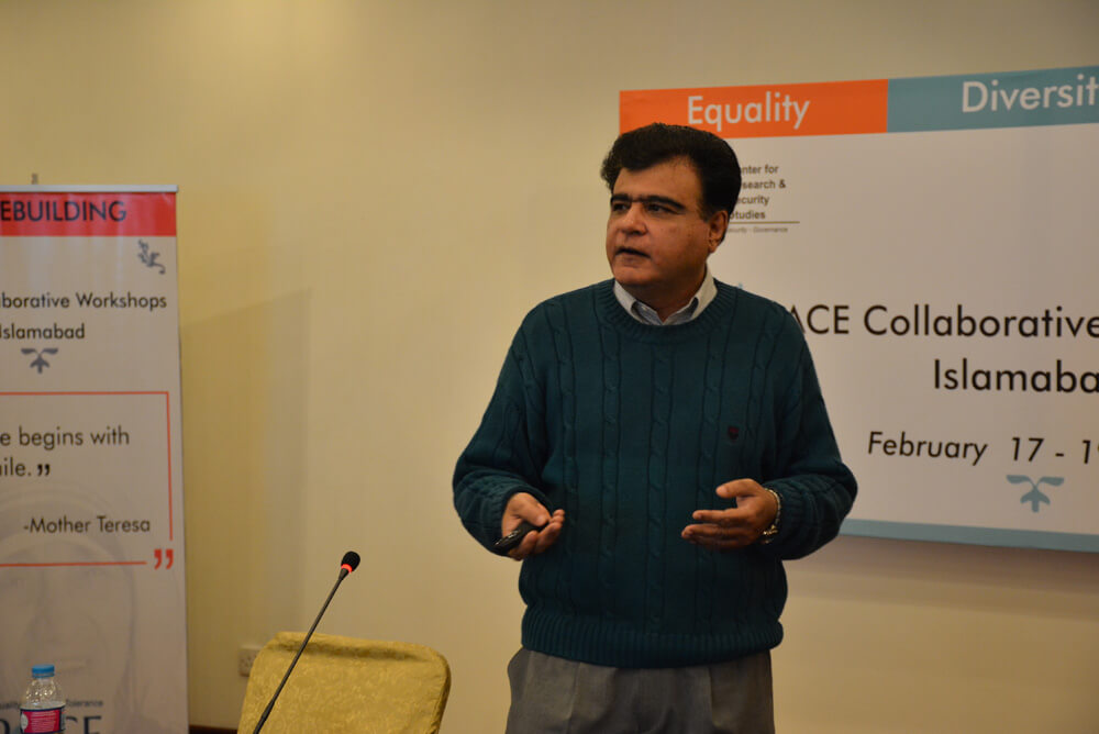 Dr. Niaz Murtaza delivering a lecture on February 17, 2017 on Democracy and Governance at the CRSS PACE workshop